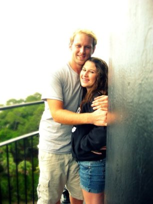 Brother and Sister smile for the camera on top of the lighthouse at Hunting Island State Park.