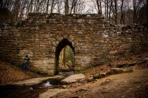 Poinsett Bridge is the oldest intact bridge constructed in 1820. The bridge once served as a connector from Greenville to Asheville and was named after Joel R. Poinsett. © Teri Byrdic