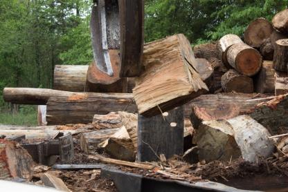 Danny Kinard splitting wood.